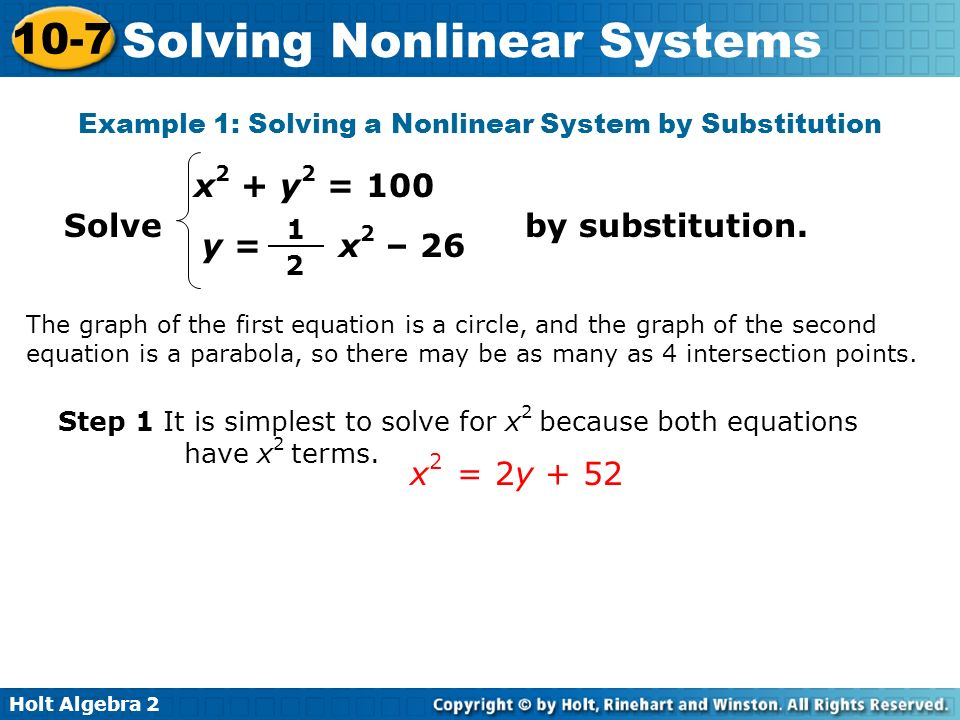 Example 1: Solving a Nonlinear System by Substitution