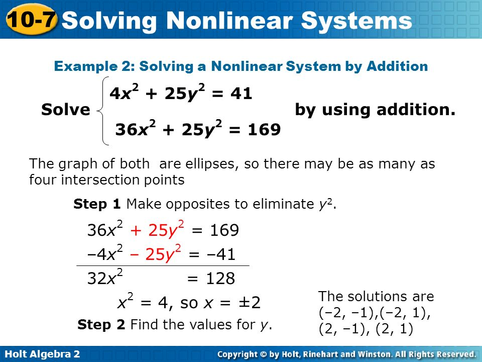 Example 2: Solving a Nonlinear System by Addition