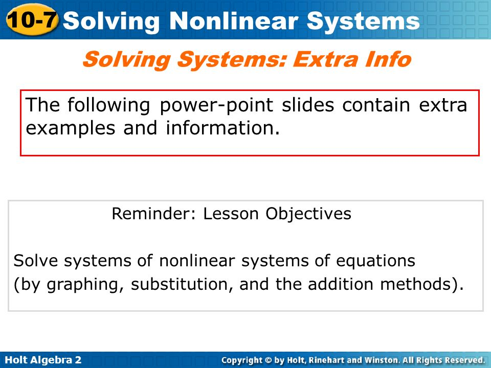 Solving Systems: Extra Info