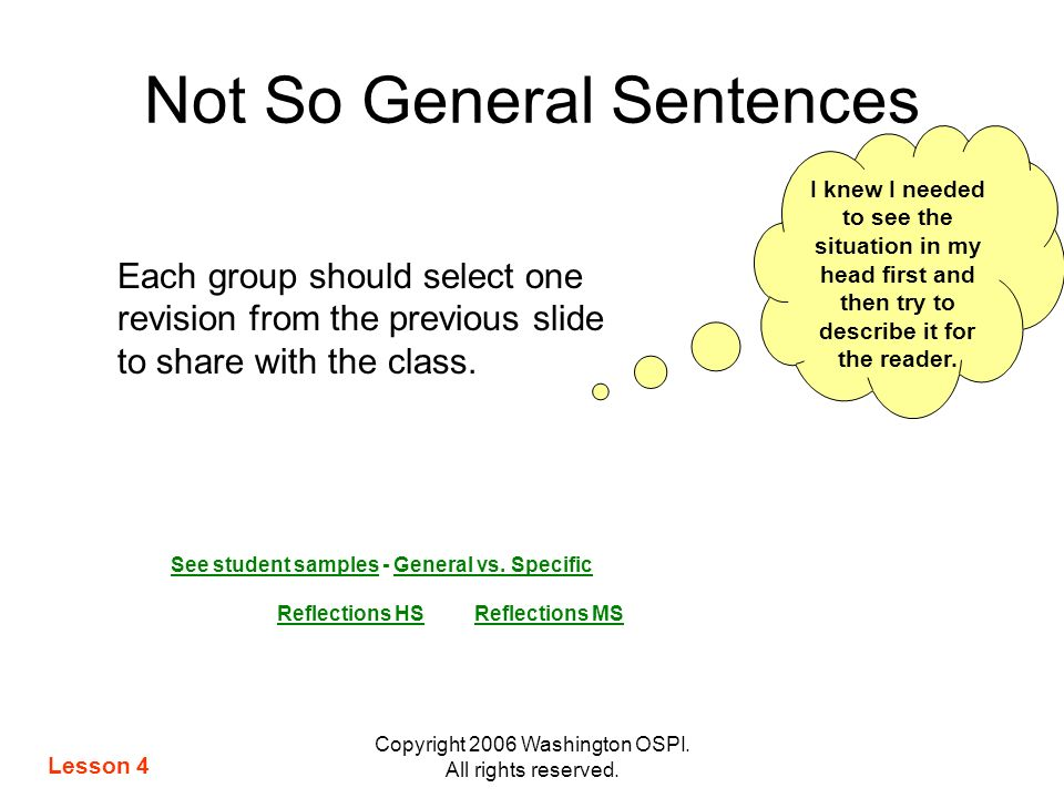 Not So General Sentences