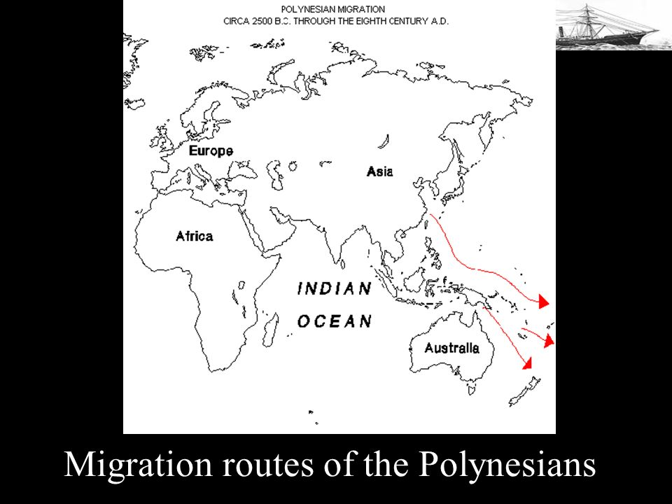 Migration routes of the Polynesians