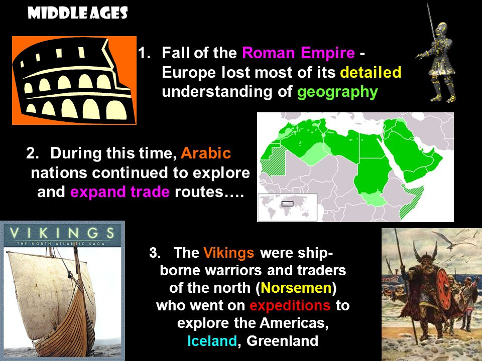 Middle Ages Fall of the Roman Empire -Europe lost most of its detailed understanding of geography.