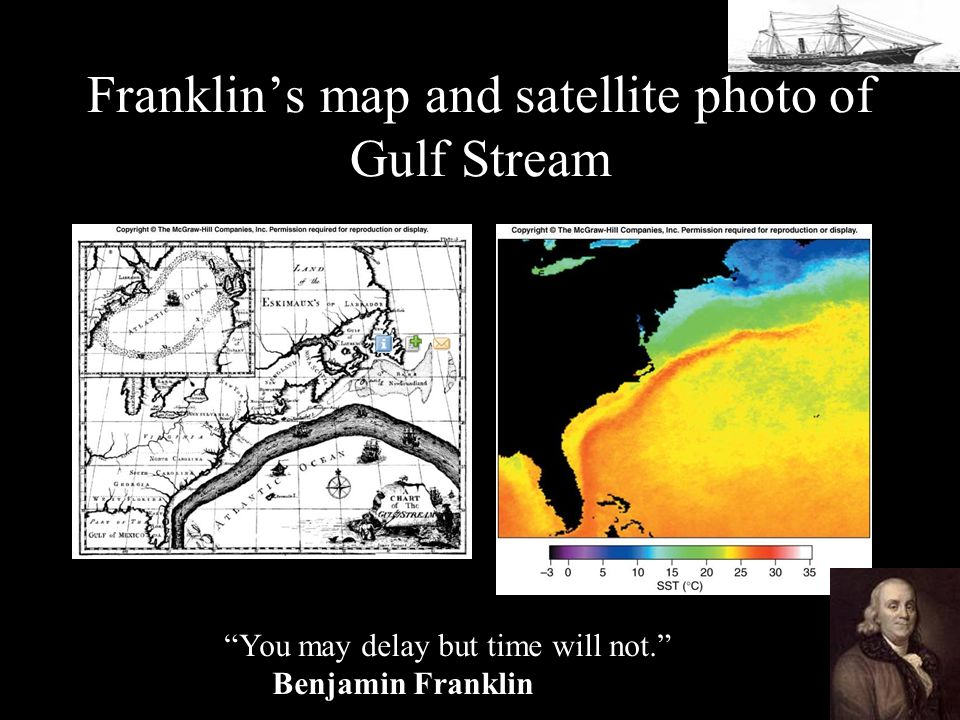 Franklin's map and satellite photo of Gulf Stream