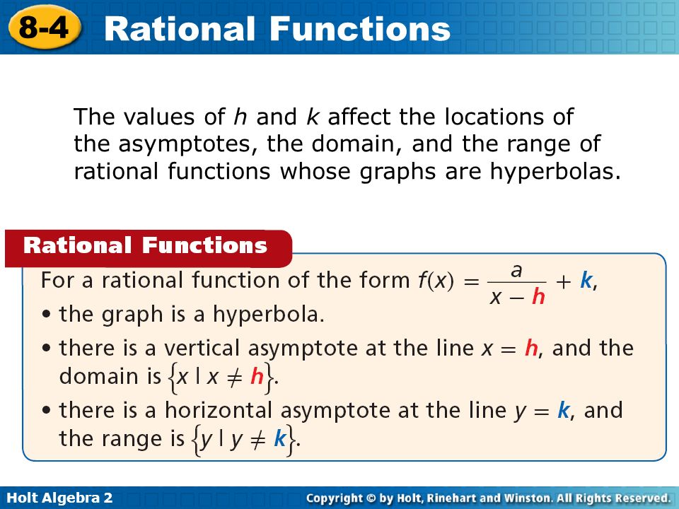 The values of h and k affect the locations of the asymptotes, the domain, and the range of rational functions whose graphs are hyperbolas.