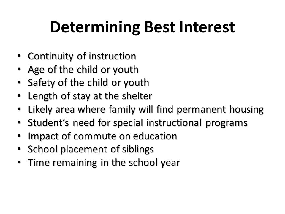 Determining Best Interest