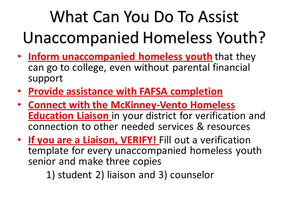 What Can You Do To Assist Unaccompanied Homeless Youth