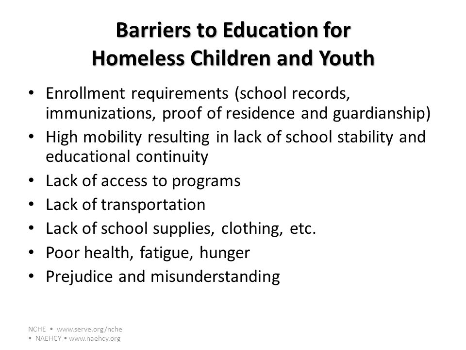 Barriers to Education for Homeless Children and Youth