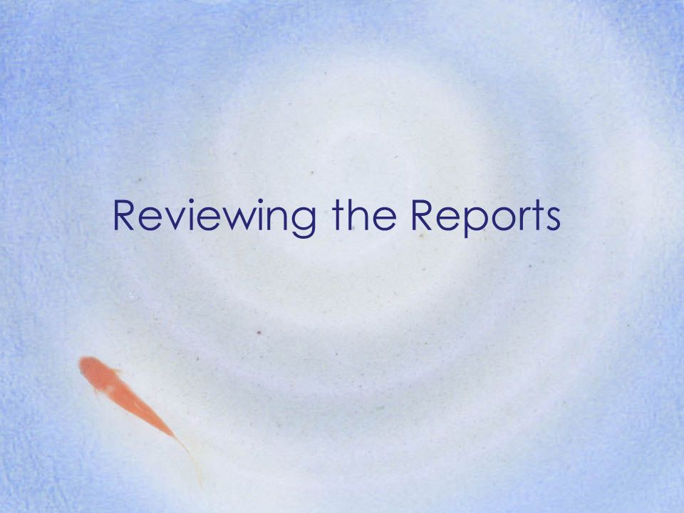 Reviewing the Reports