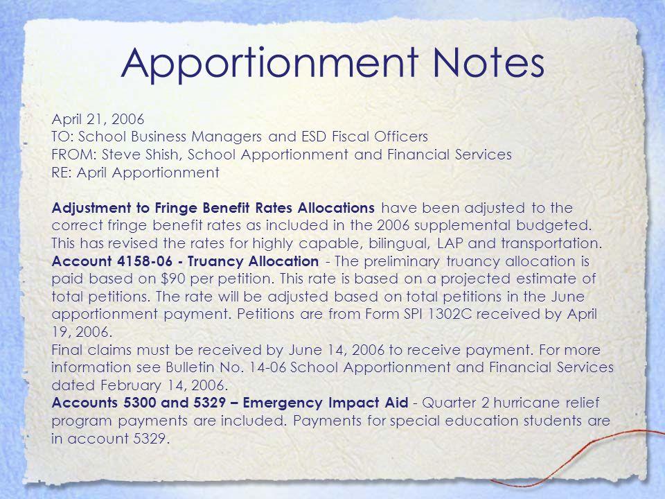 Apportionment Notes April 21, 2006