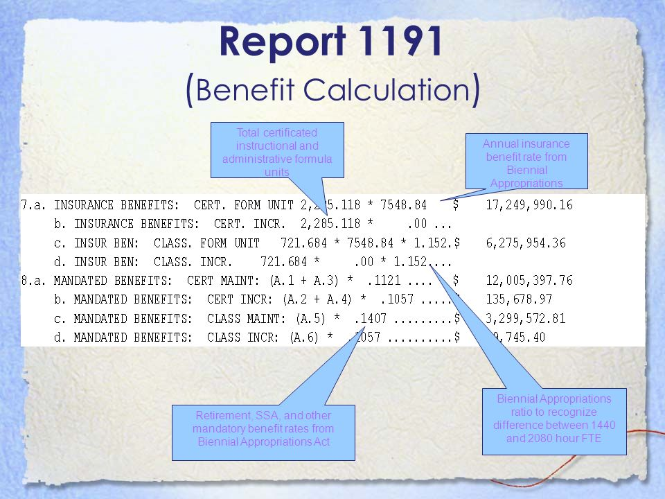 Report 1191 (Benefit Calculation)