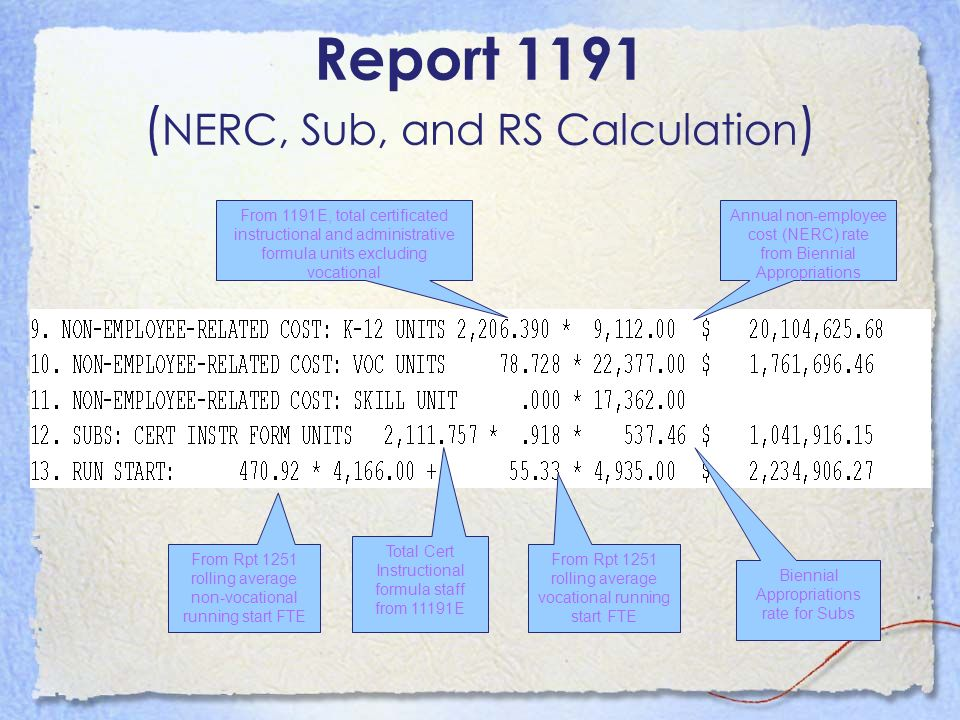 Report 1191 (NERC, Sub, and RS Calculation)