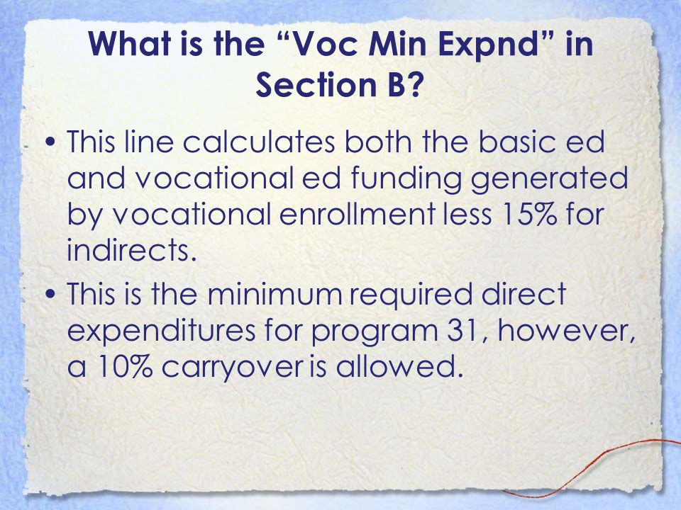 What is the Voc Min Expnd in Section B