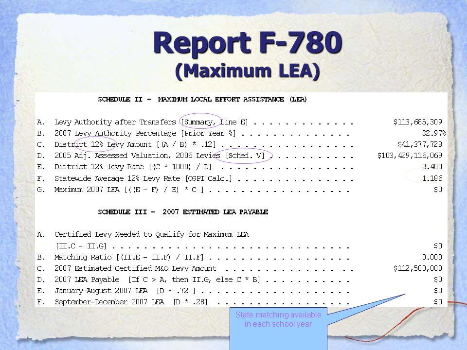 Report F-780 (Maximum LEA)