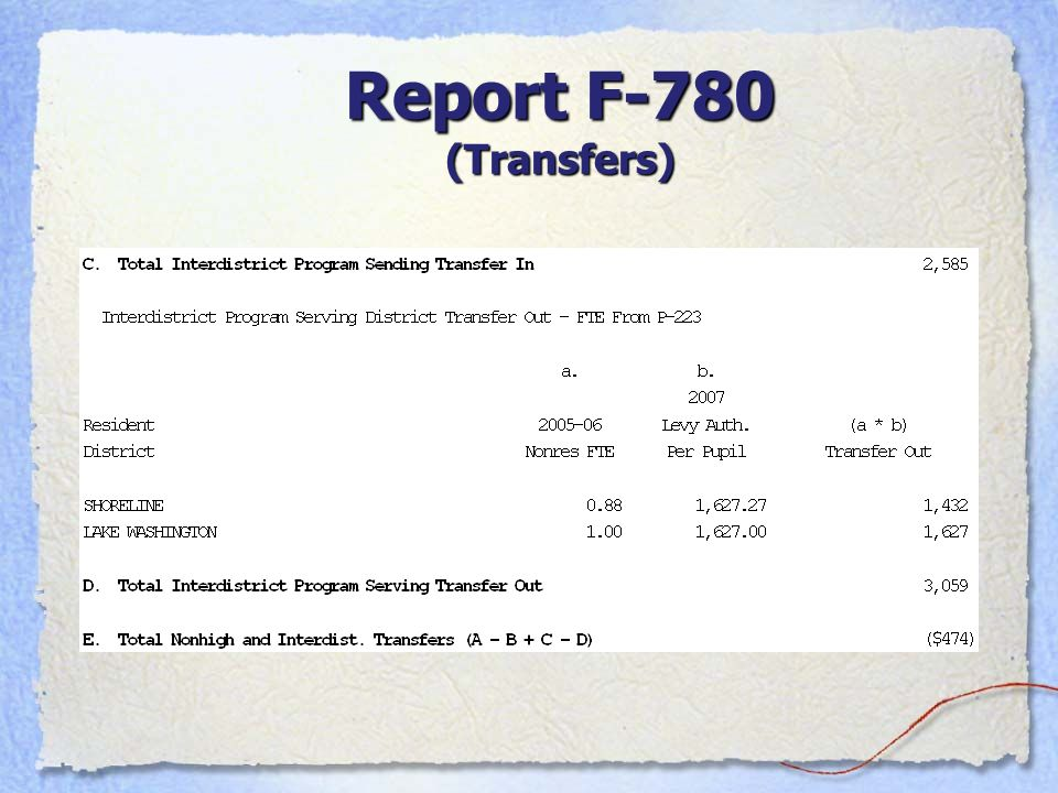 Report F-780 (Transfers)