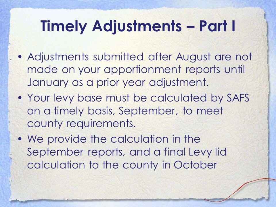 Timely Adjustments – Part I