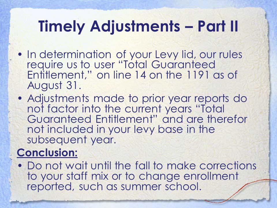Timely Adjustments – Part II