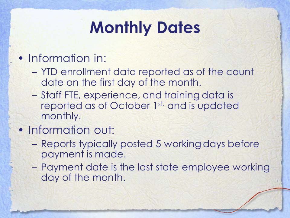 Monthly Dates Information in: Information out: