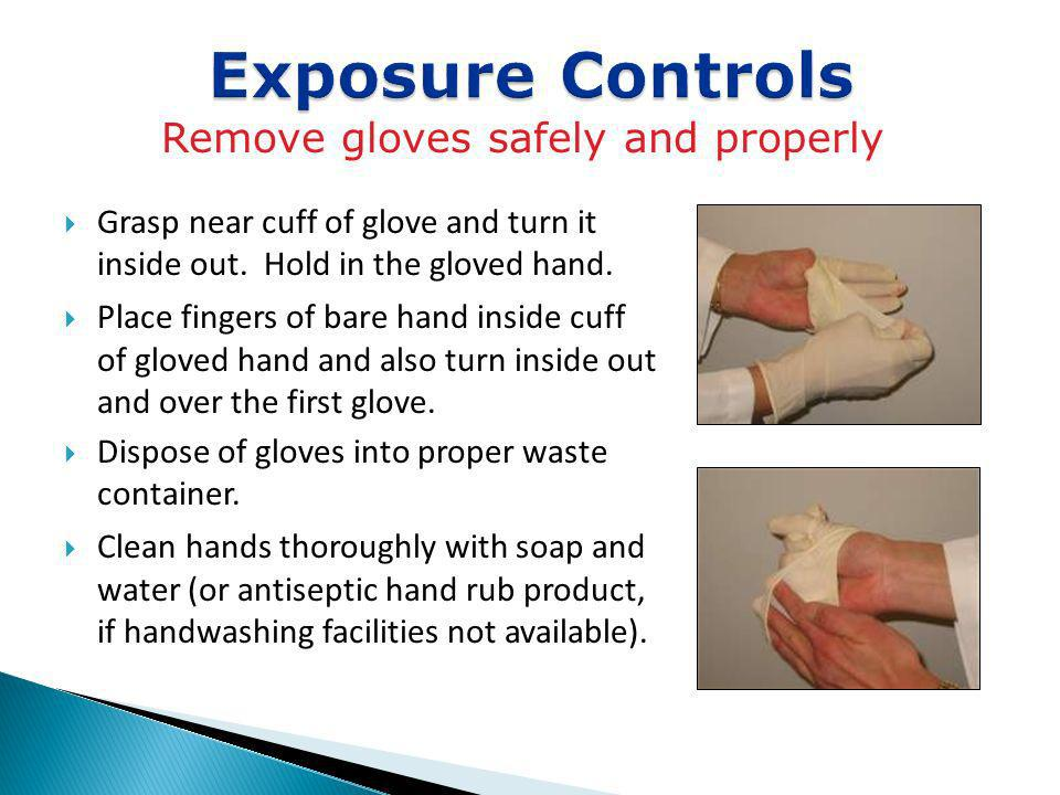 Remove gloves safely and properly