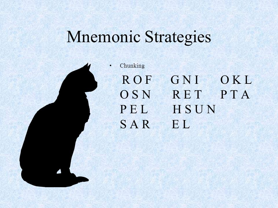 Mnemonic Strategies Chunking.