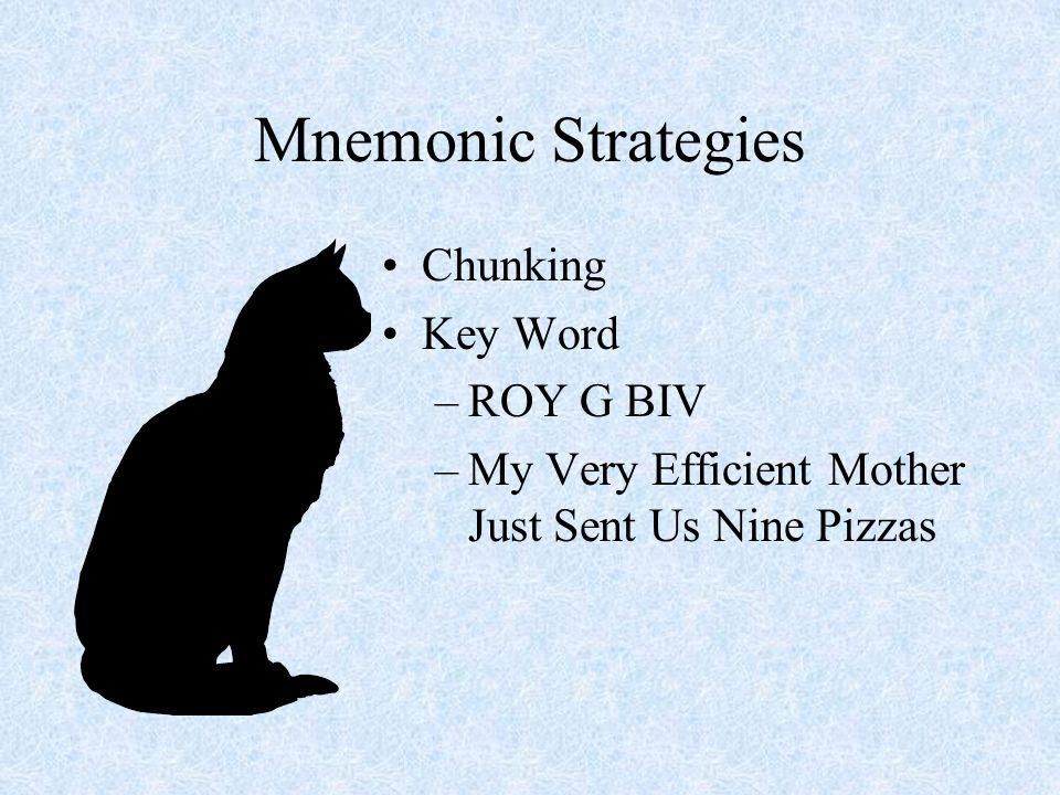 Mnemonic Strategies Chunking Key Word ROY G BIV