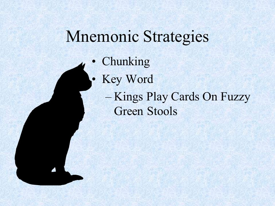 Mnemonic Strategies Chunking Key Word