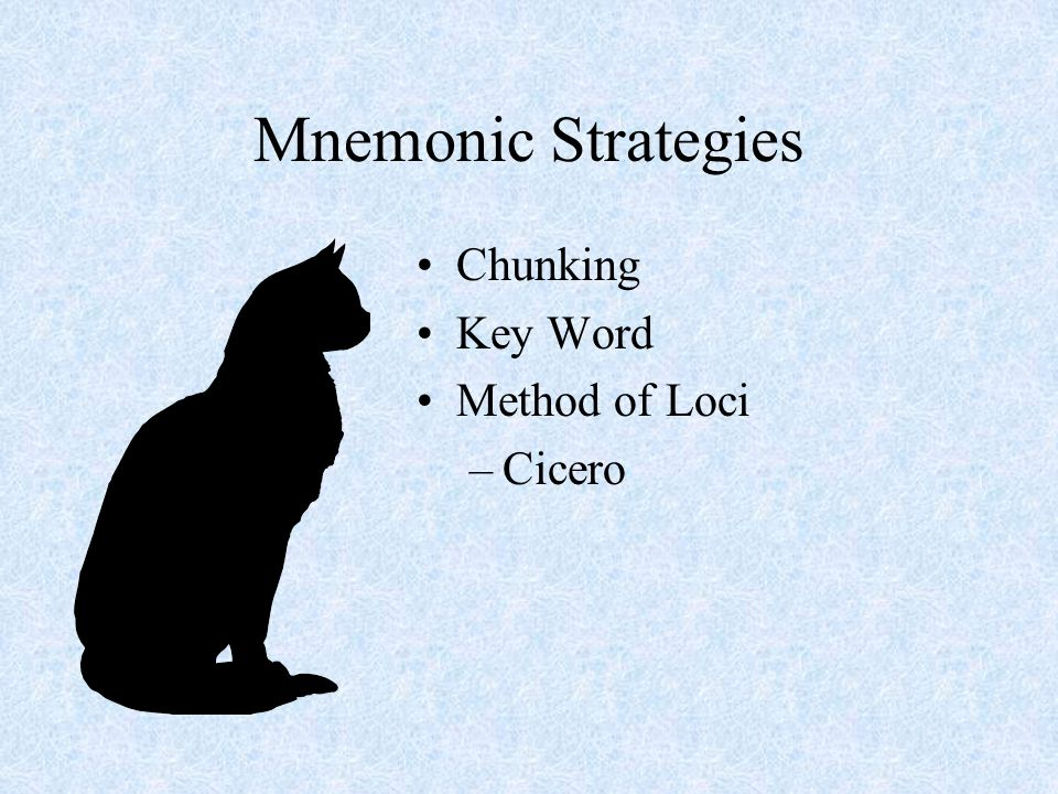 Mnemonic Strategies Chunking Key Word Method of Loci Cicero