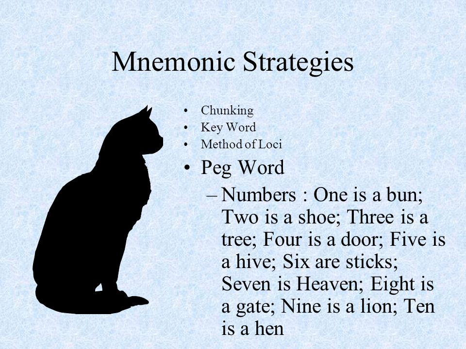 Mnemonic Strategies Peg Word