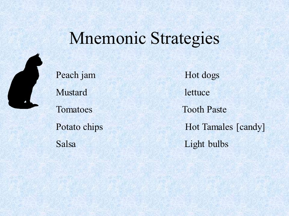 Mnemonic Strategies Peach jam Hot dogs Mustard lettuce