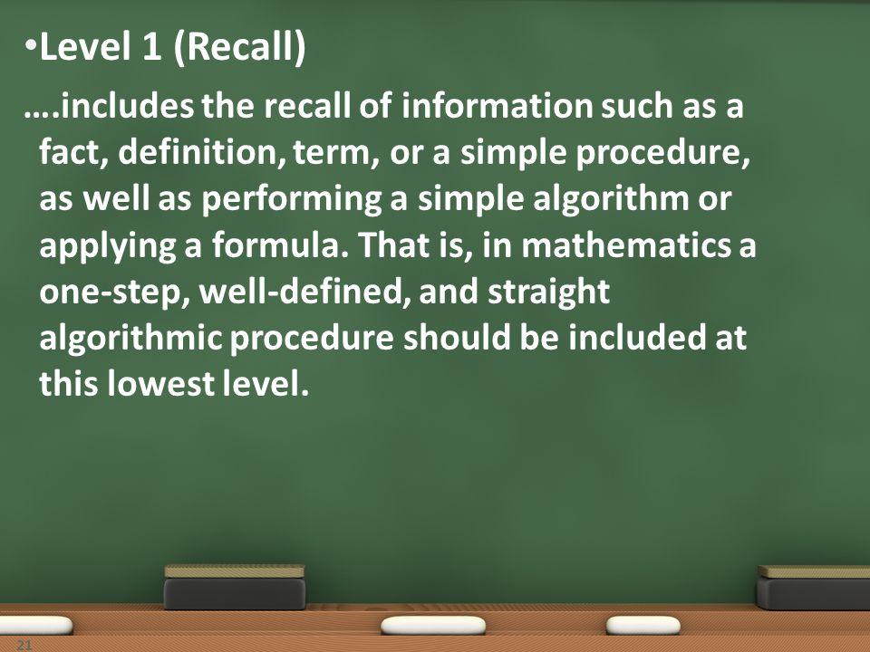Level 1 (Recall)