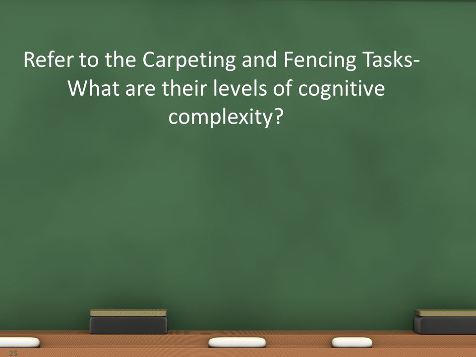 Refer to the Carpeting and Fencing Tasks-What are their levels of cognitive complexity