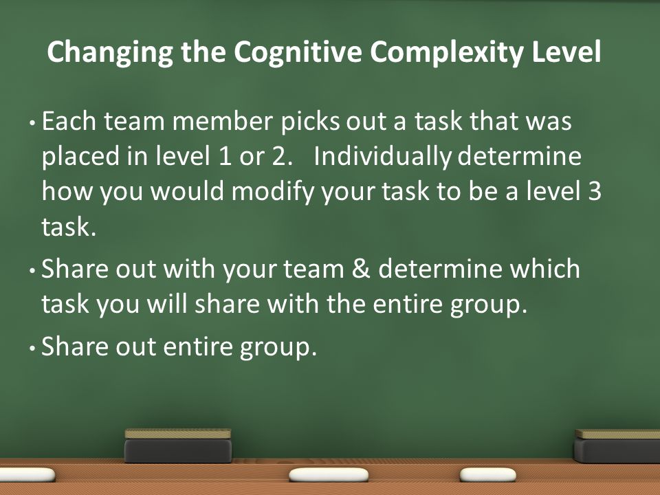 Changing the Cognitive Complexity Level