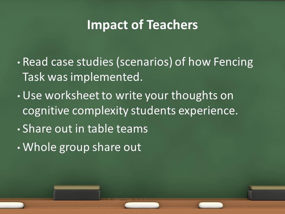 Impact of Teachers Read case studies (scenarios) of how Fencing Task was implemented.