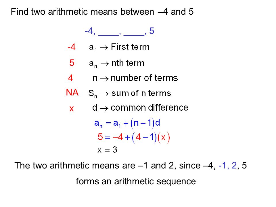 Find two arithmetic means between –4 and 5