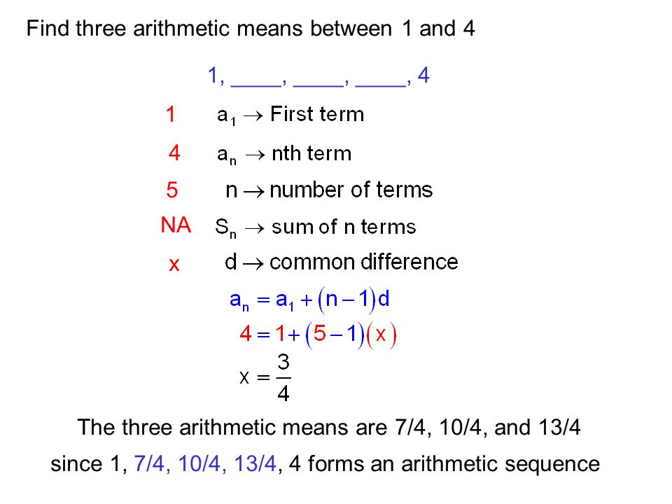 Find three arithmetic means between 1 and 4