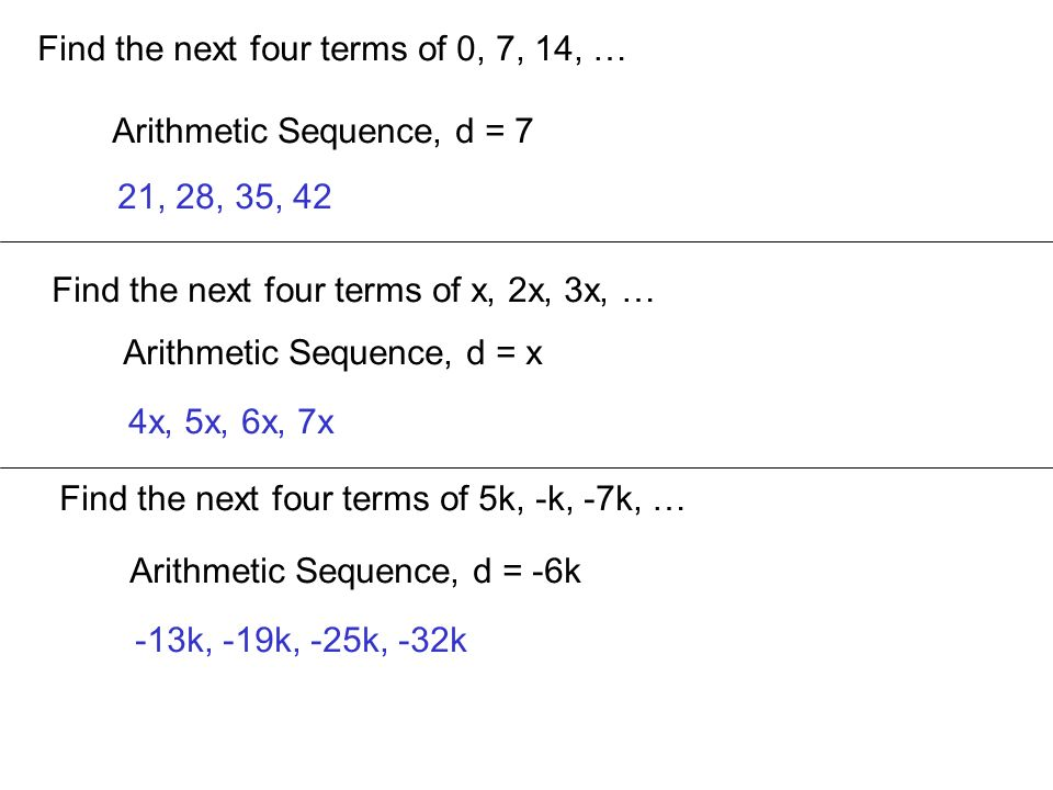 Find the next four terms of 0, 7, 14, …