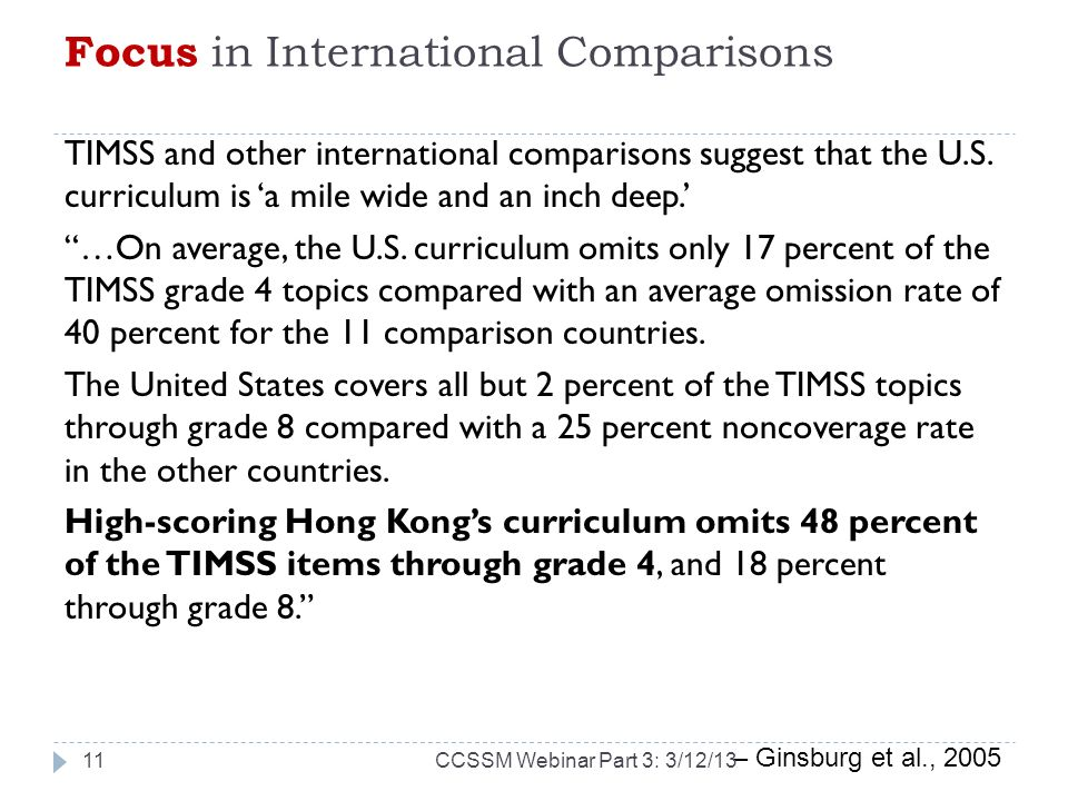 Focus in International Comparisons