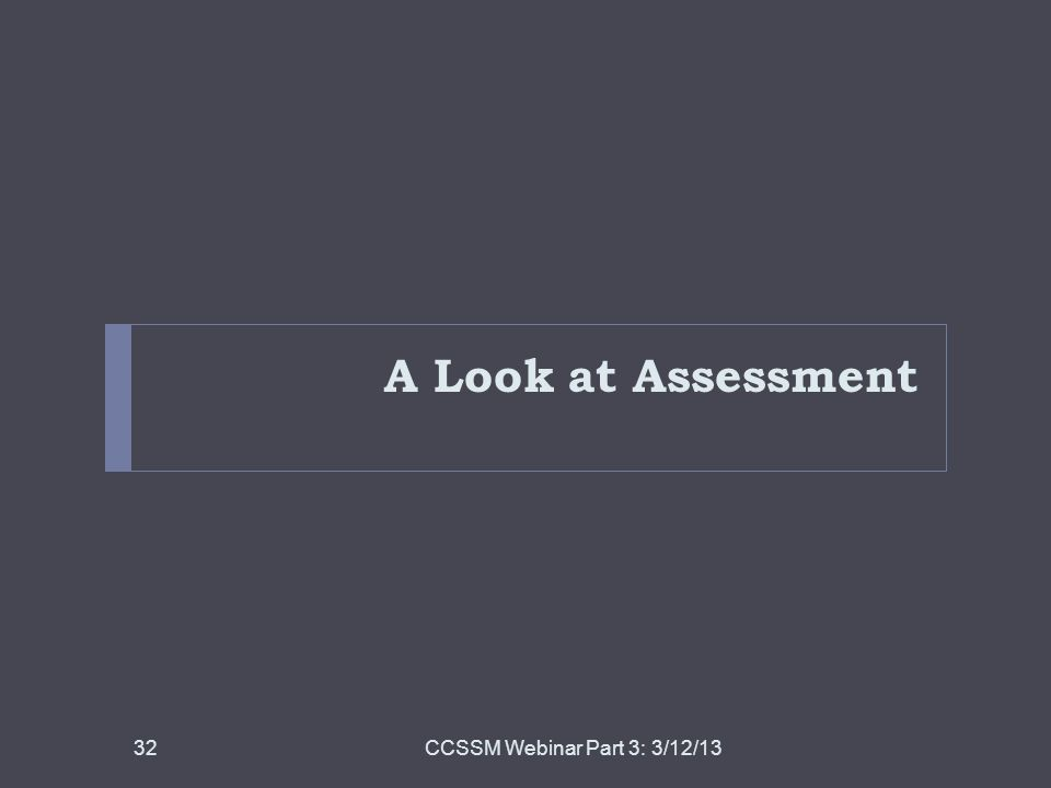 A Look at Assessment CCSSM Webinar Part 3: 3/12/13