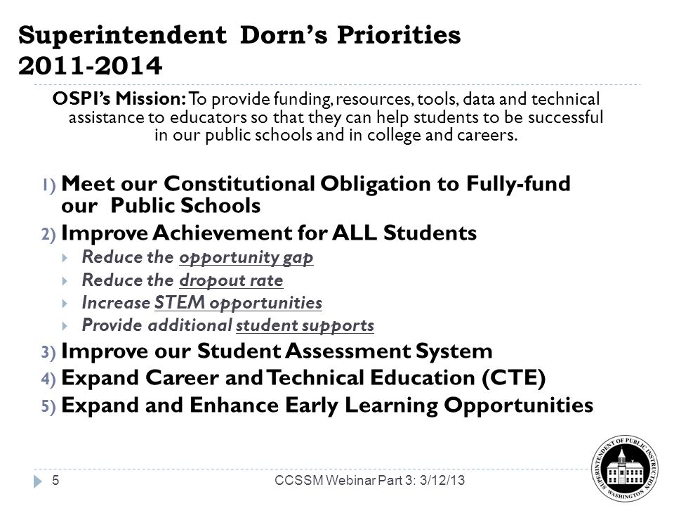Superintendent Dorn's Priorities 2011-2014