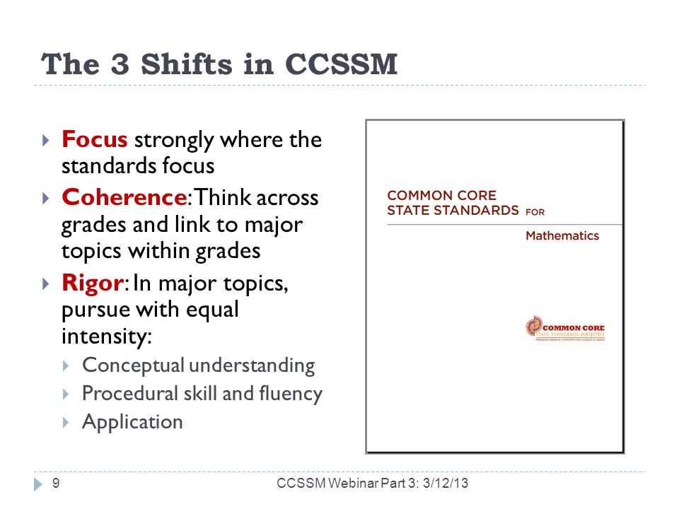 The 3 Shifts in CCSSM Focus strongly where the standards focus