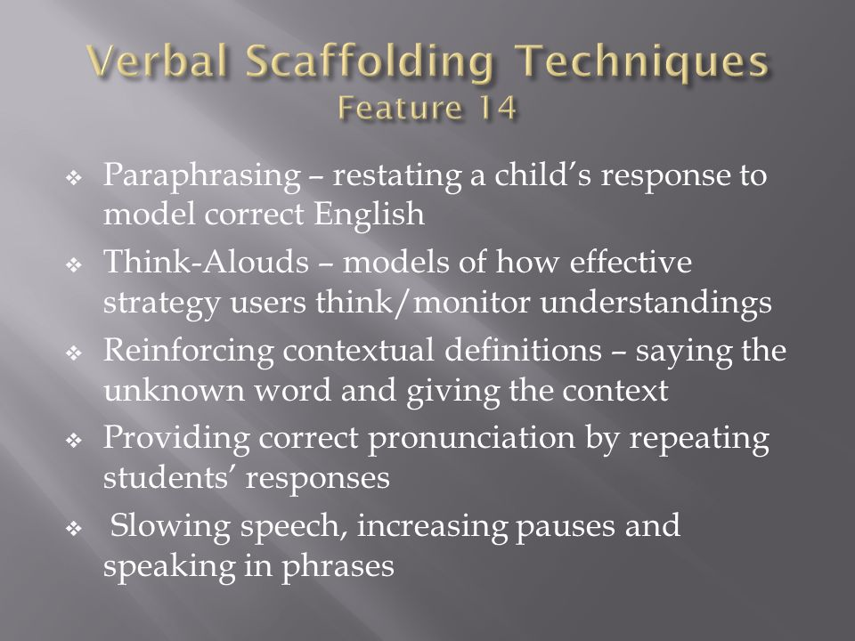 Verbal Scaffolding Techniques Feature 14