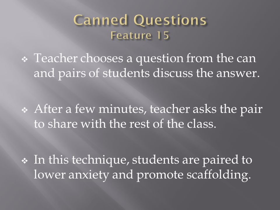Canned Questions Feature 15