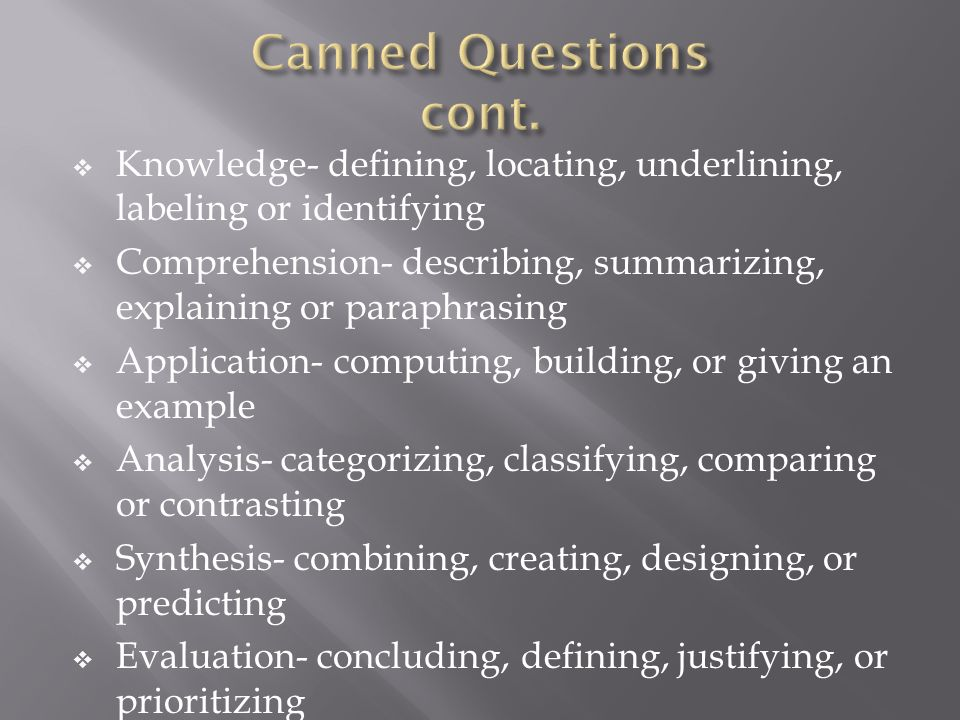 Canned Questions cont. Knowledge- defining, locating, underlining, labeling or identifying.