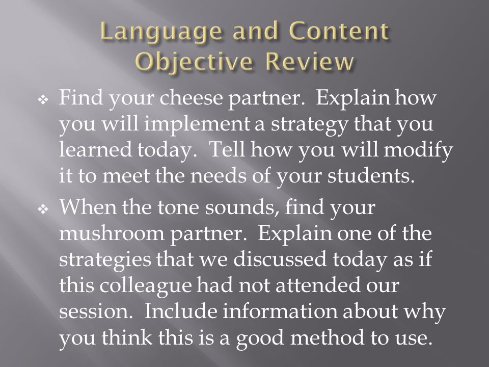 Language and Content Objective Review