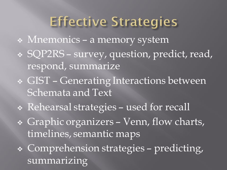 Effective Strategies Mnemonics – a memory system