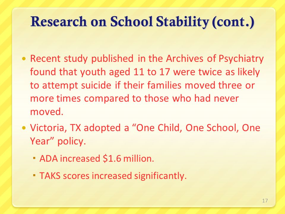Research on School Stability (cont.)