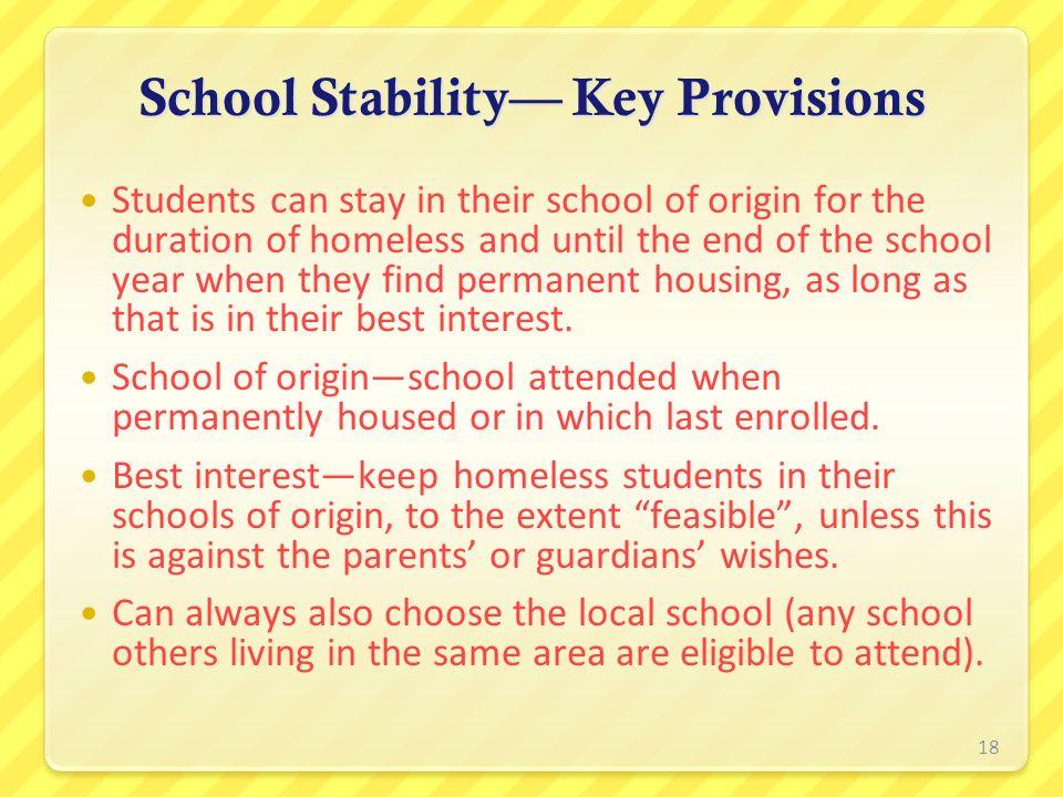School Stability— Key Provisions