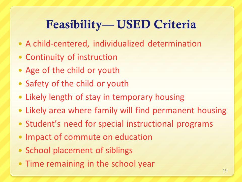 Feasibility— USED Criteria