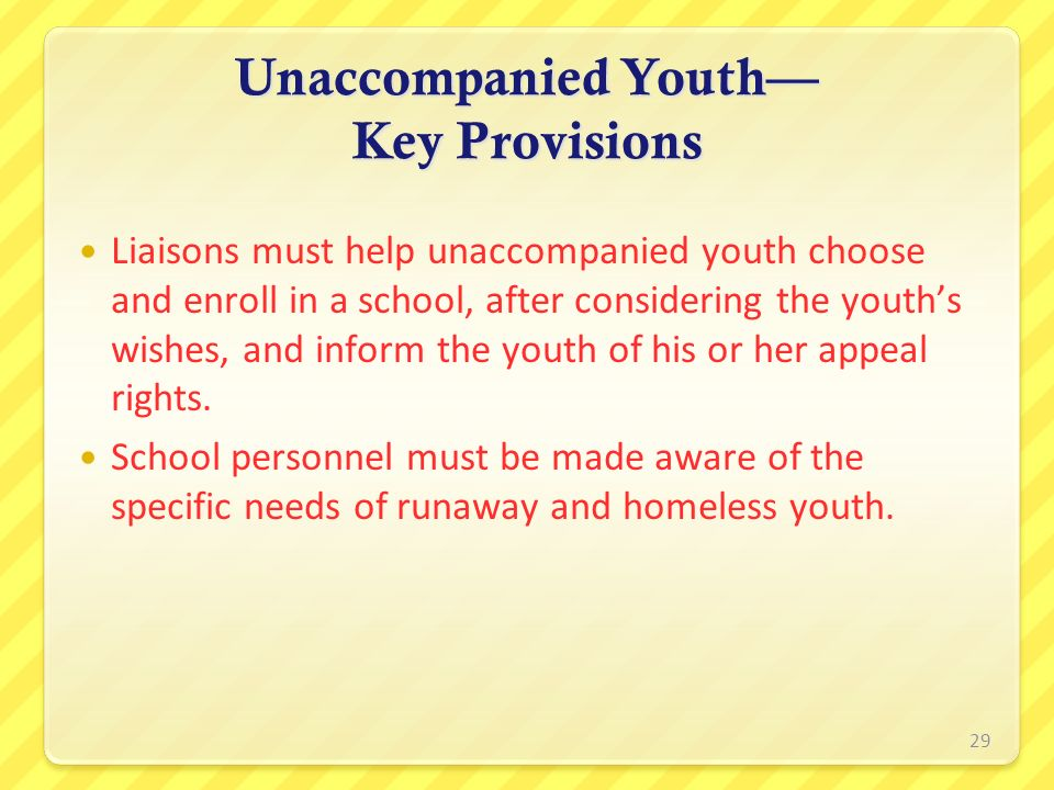 Unaccompanied Youth— Key Provisions