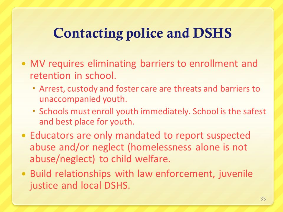 Contacting police and DSHS