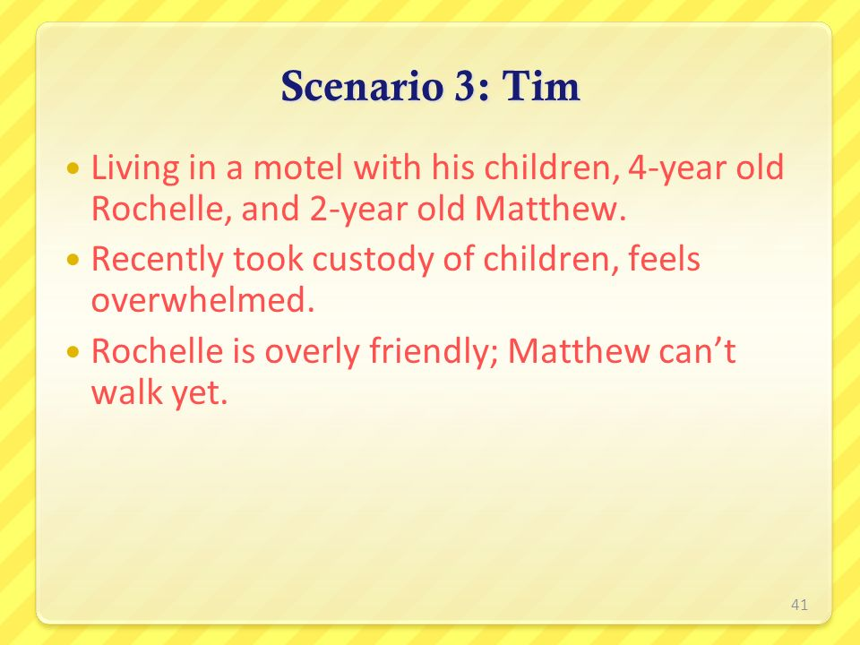 Scenario 3: Tim Living in a motel with his children, 4-year old Rochelle, and 2-year old Matthew.